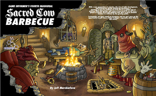 Double Barrel: Game Informer Sacred Cow Barbecue illustrations by Zander!