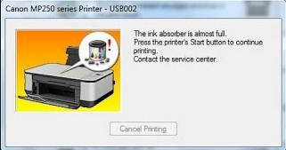 Canon MP258 The Ink Absorber is Almost Full