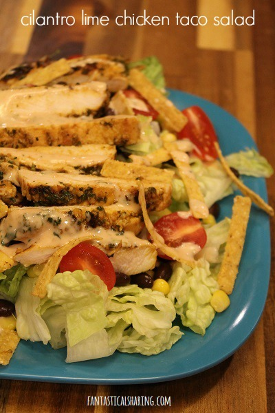 Cilantro Lime Chicken Taco Salad #recipe #salad #chicken #maindish