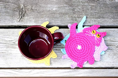 Colorful Cat Coasters - Handmade Crochet By Nancy Giangrande at Wyvern Designs on Amazon
