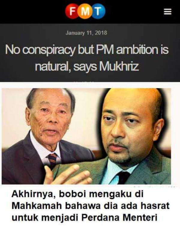 Mukhriz Akui Mempunyai Cita-cita Menjadi Perdana Menteri Di Mahkamah