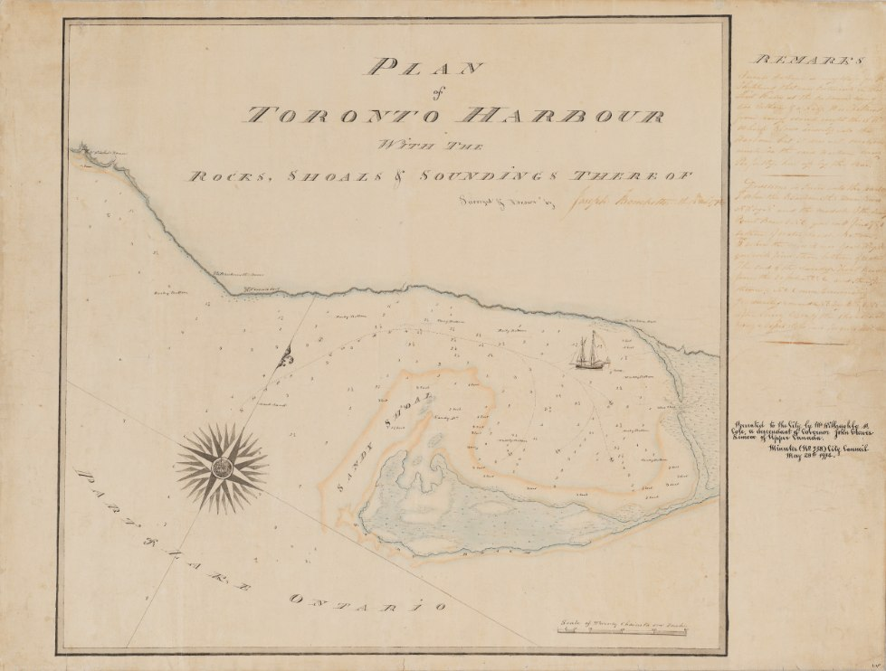 1792 Plan of Toronto Harbour by Joseph Bouchette - MAP