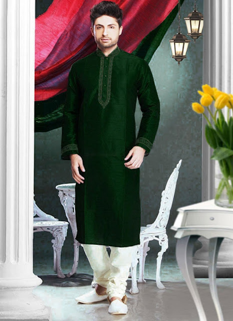 Green shade Art Silk Kurta Pyjama