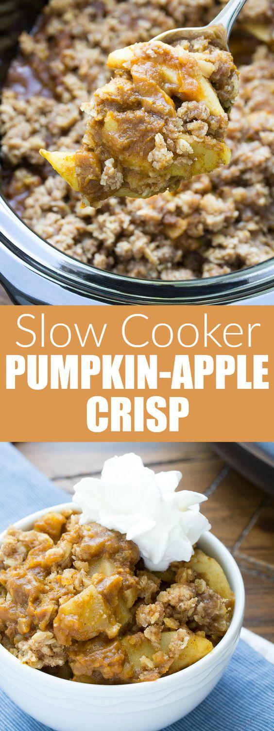 Slow Cooker Pumpkin Apple Crisp