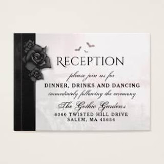 Gothic Black Roses 3.5 x 2.5 Wedding Reception Cards