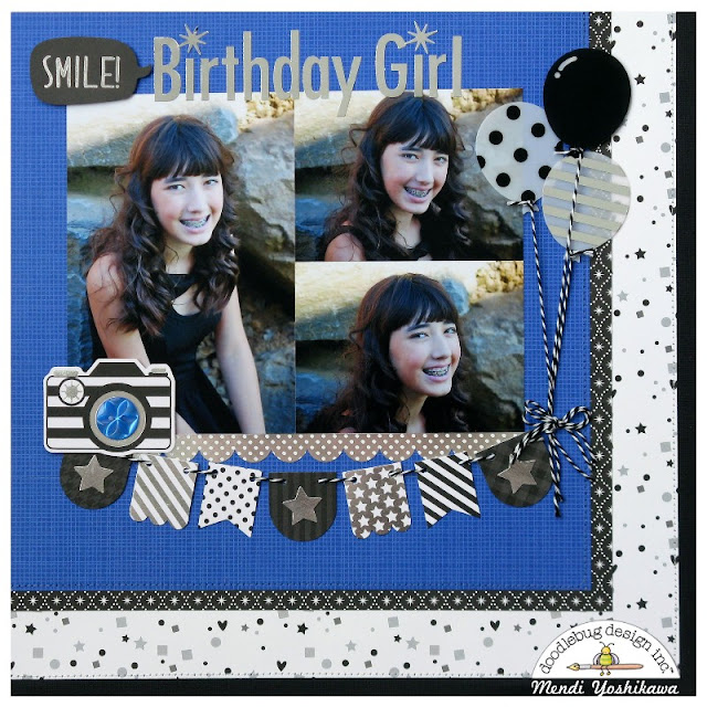 Doodlebug Design Hats Off Graduation Collection used for a Birthday Scrapbook Layout by Mendi Yoshikawa
