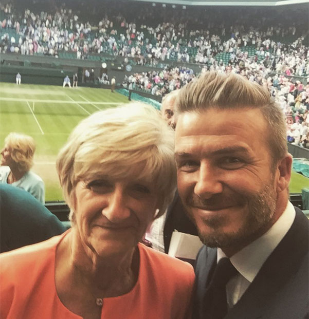 David Beckham with his mother at Wimbledon 2015/01/07