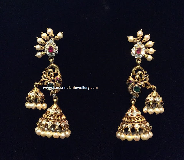 Peacock Double Jhumka