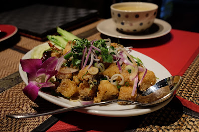 Delicious Hoi Cho Crab Jujube at Smile Thailand restaurant, Asakusabashi, Tokyo.