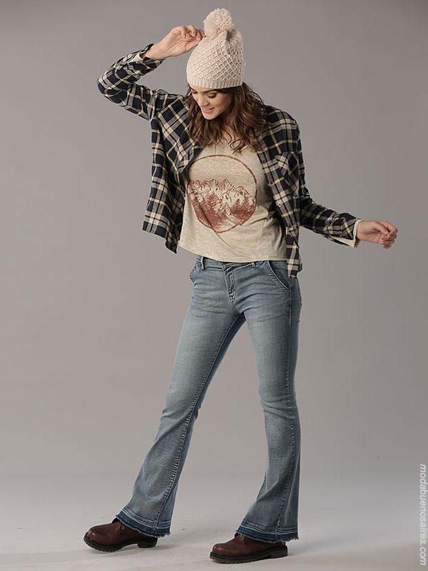 Moda invierno 2018 camisas a cuadros ropa de mujer.