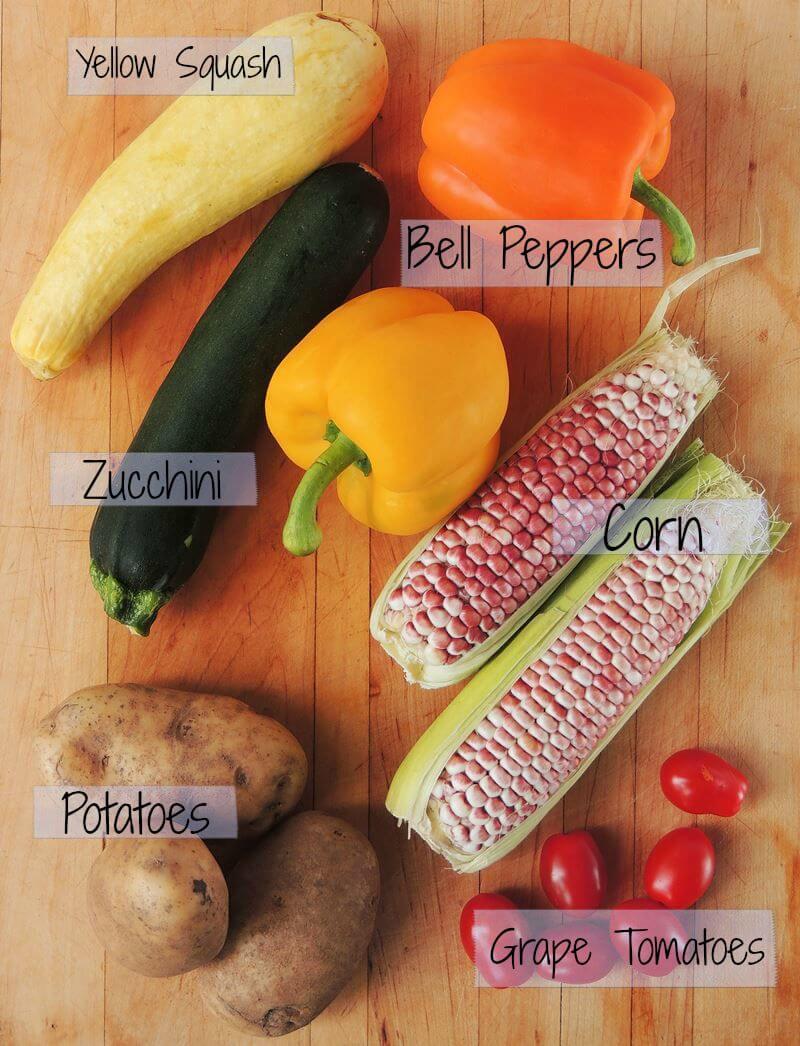Celebrate veggies with this Farmer's Market Potato Salad recipe. Sweet roasted veggies mixed together with tender potatoes, and ZERO mayo! #vegetarian #dairyfree #potato #salad #recipe | bobbiskozykitchen.com