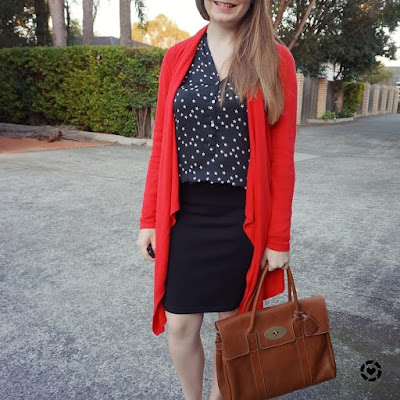 awayfromblue instagram red drape cardigan with monochrome black office outfit mulberry bayswater