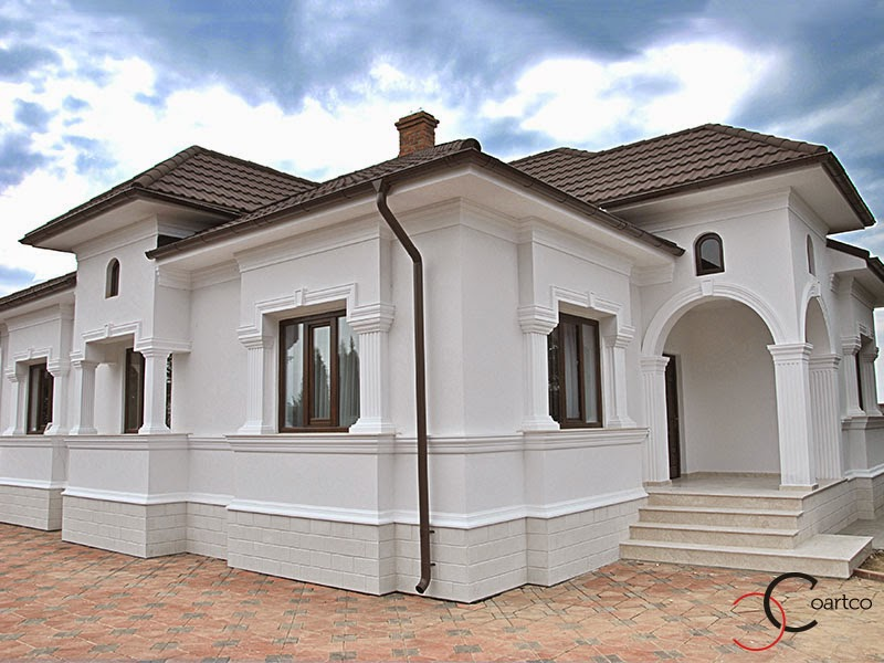 fatade case cu profile decorative din polistiren, albe, arcade, ancadramente, cornise, soclu, arcade, coloane