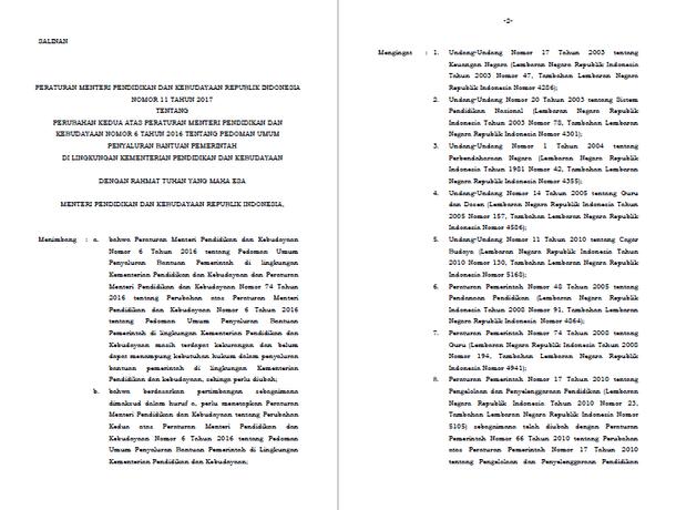 Permendikbud Nomor 11 Tahun 2017 Tentang Perubahan Kedua atas Peraturan Menteri Pendidikan dan Kebudayaan Nomor 6 Tahun 2016 tentang Pedoman Umum Penyaluran Bantuan Pemerintah di Lingkungan Kementerian Pendidikan dan Kebudayaan