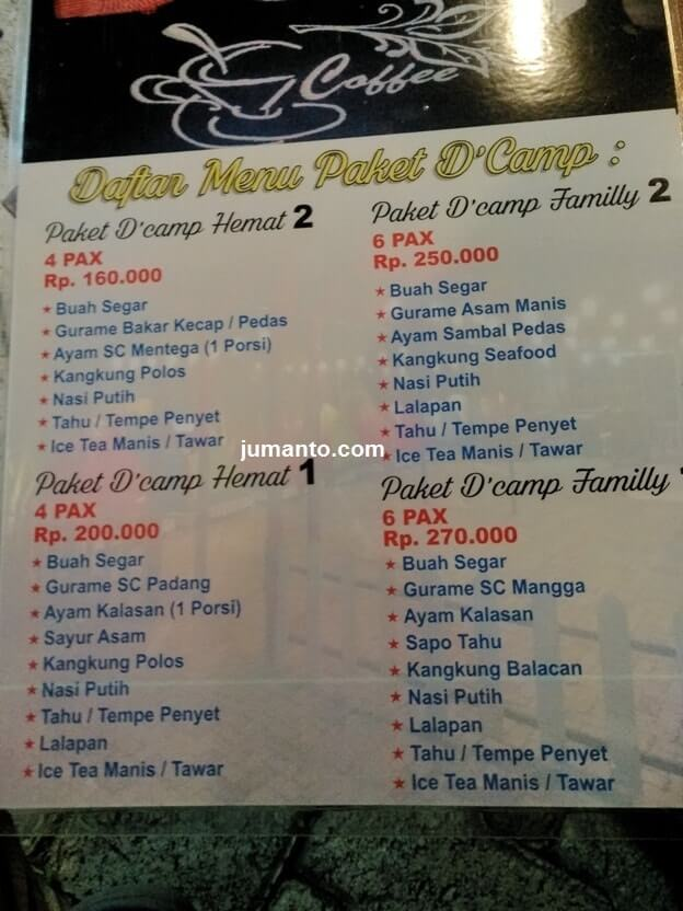 menu paket di dcamp cafe lampung
