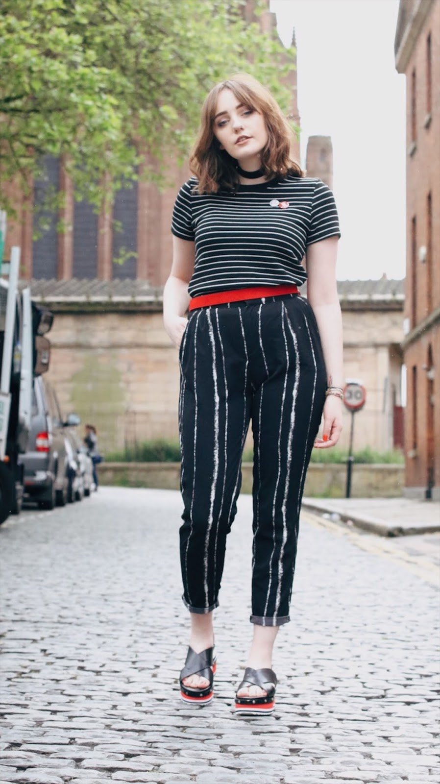 red, black and white outfit by Liverpool style blogger