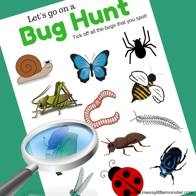 A printable bug scavenger hunt for minibeast loving toddlers, preschoolers and kids. What insects will you find? A great outdoor activity for Spring.