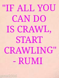 """""""IF ALL YOU  CAN DO  IS CRAWL,  START  CRAWLING""""  - RUMI"""