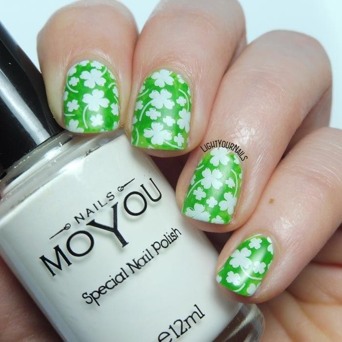 Nail art verde a quadrifogli San Patrizio St Patricks's Day green clovers shamrocks #stamping #nailart feat. #beautybigbang #lightyournails