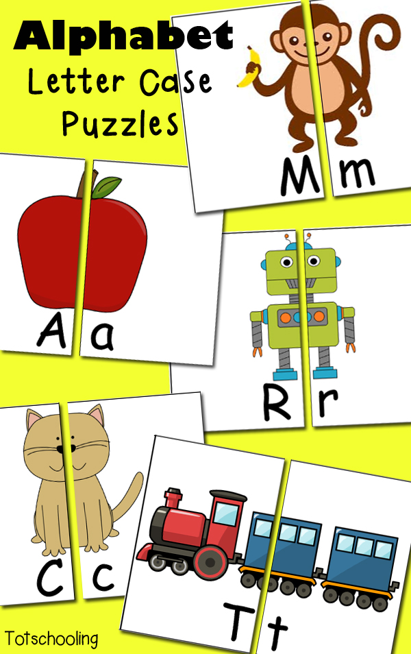 picture relating to Printable Puzzles for Preschoolers named Absolutely free Alphabet Letter Circumstance Puzzles Totschooling - Little one