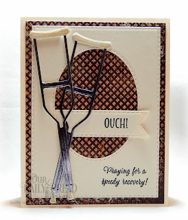 Our Daily Bread Designs Stamp Set: Get Well Wishes, Custom Dies: Double Stitched Ovals, Double Stitched Rectangles, Double Stitched Pennant Flags, Crutch, Paper Collection:  Vagabond Treasure