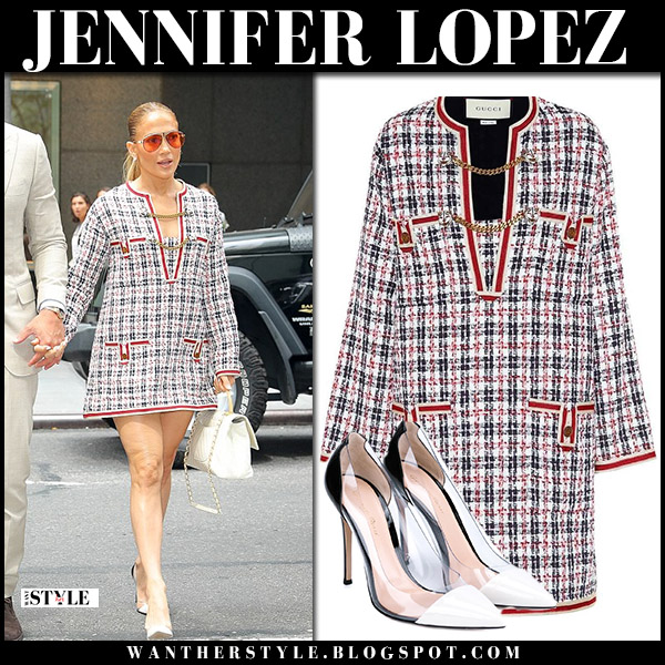 Jennifer Lopez in red tweed gucci mini dress and pumps hollywood style august 17