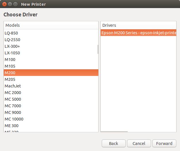 Pilih Printer dan driver