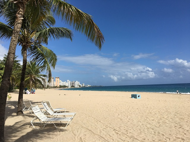 A postcard-perfect white sand beach in Puerto Rico