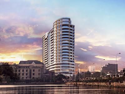 Phối cảnh tòa nhà, nhìn thẳng ra Hồ Tây