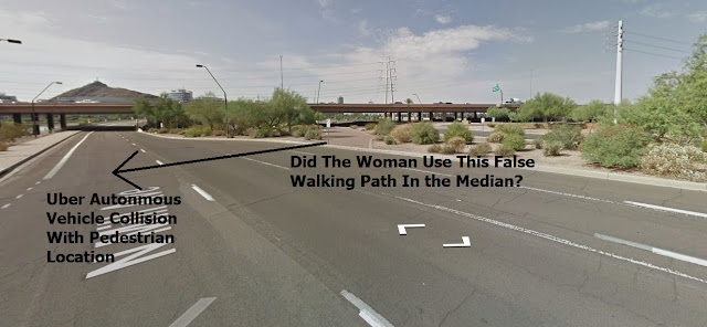 Photo of woman hit by Uber use a false walking path in the median