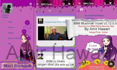 BBM Muslimah Violet V2.12.0.9 Apk Terbaru