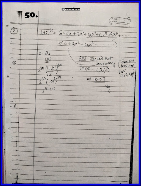 IITJEE Competition Notes On Complex Number Maths