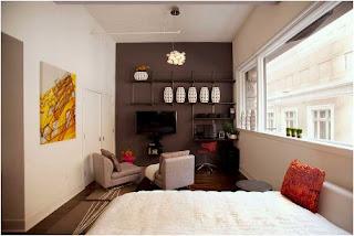 Bild Kleines Modernes Schlafzimmer Die Akzentwand Ist Sehr