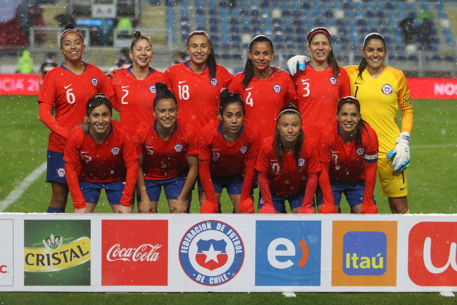 Formación de selección femenina de Chile ante Costa Rica, amistoso disputado el 9 de junio de 2018