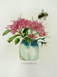 Bee and Flower, Watercolour and Ink Art Workshops. London. Bee painting workshops.