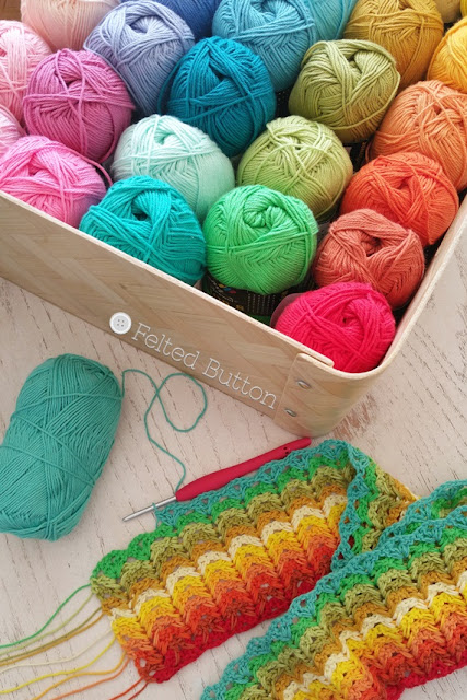 Scheepjes Cotton 8 yarn used by Susan Carlson of Felted Button -- Colorful Crochet Patterns