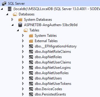 AspNetDB - Tables créés par défaut