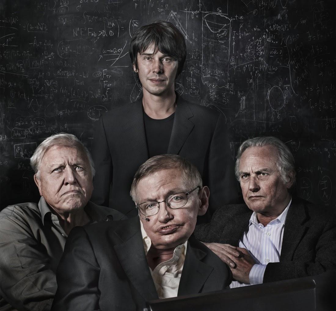 Những nhà khoa học nổi tiếng của Anh Quốc chụp ảnh bìa cho Tạp chí Guardian Cuối tuần. Từ trái qua phải là David Attenborough, Brian Cox, Stephen Hawking và Richard Dawkins. Hình ảnh: Alastair Thain.
