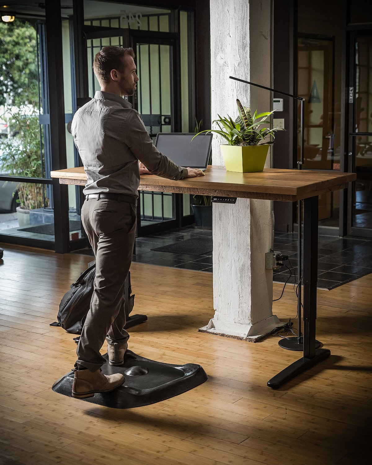 a mat into t office get feast desk don standing moveable my turning floor caught
