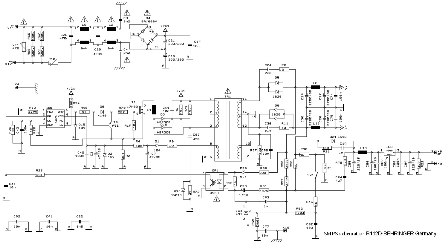 EUROLIVE B112D-BEHRINGER Germany - PA Speaker System circuit diagram