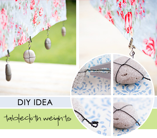 Pebble tablecloth weights diy