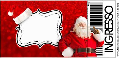 Tarjeta con forma de Ticket de Santa Claus en Rojo y Dorado.
