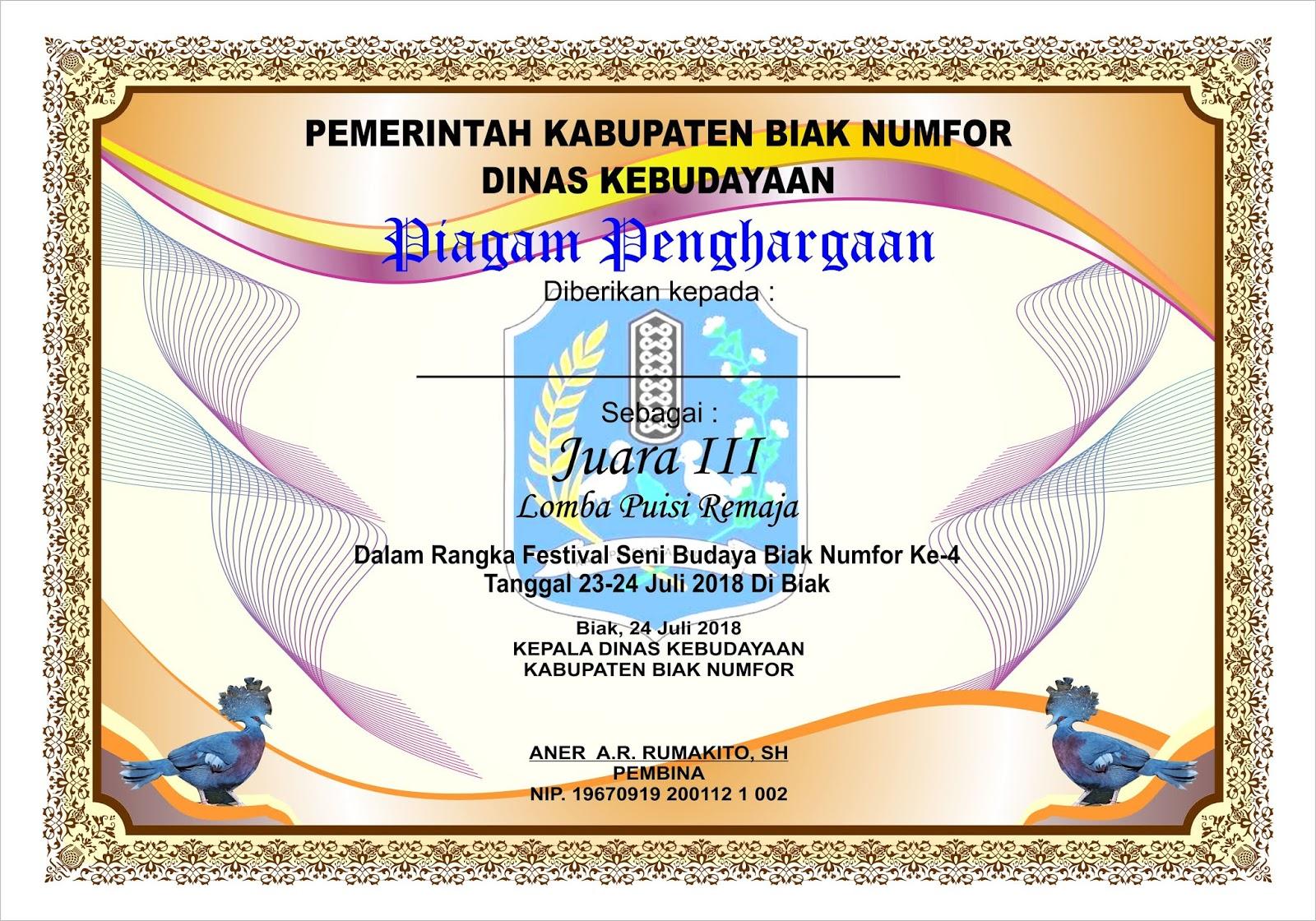 Piagam Penghargaan Dinas Kebudayaan Kabupaten Biak Numfor 2018
