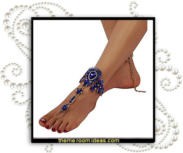 1 Pair 7 Colors Crystal Foot Jewelry for Women Barefoot Sandals Beach Wedding with Gift Box   Barefoot Sandals - ankle decorations - feet bling - feet jewelry for the beach - Rhinestone Toe Ring - Beach Wedding Jewelry Anklet
