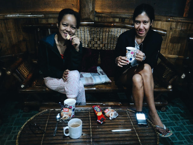 Ruth and I at Alomah's Farm in Bukidnon having our Great Taste Coffee White at 4am