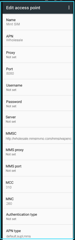 New Mint SIM APN Settings android