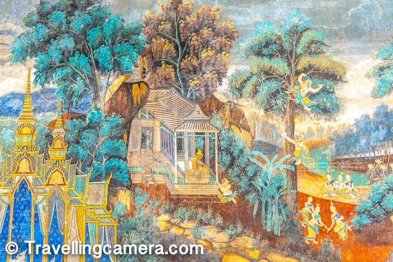 As you walk from the Throne Hall to the Silver Pagoda, watch out for the fresco paintings on the walls. On the surface, you get an impression that the paintings are about some Cambodian mythology. However, upon looking closely, you will recognize several shapes and forms and would form the connection between Ramayana and Reamker, the Cambodian version of Ramayana.