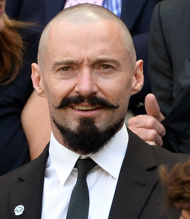 Hugh Jackman with Twirled Moustache and Goatee Beard