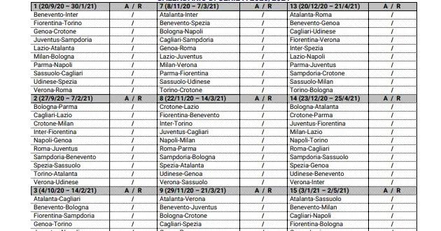 Calendario di calcio Serie A 2020 2021 da scaricare e stampare