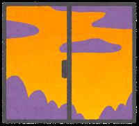 窓の外の天気のイラスト(夕方)